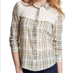 Free People Saddle Up plaid lace button down L